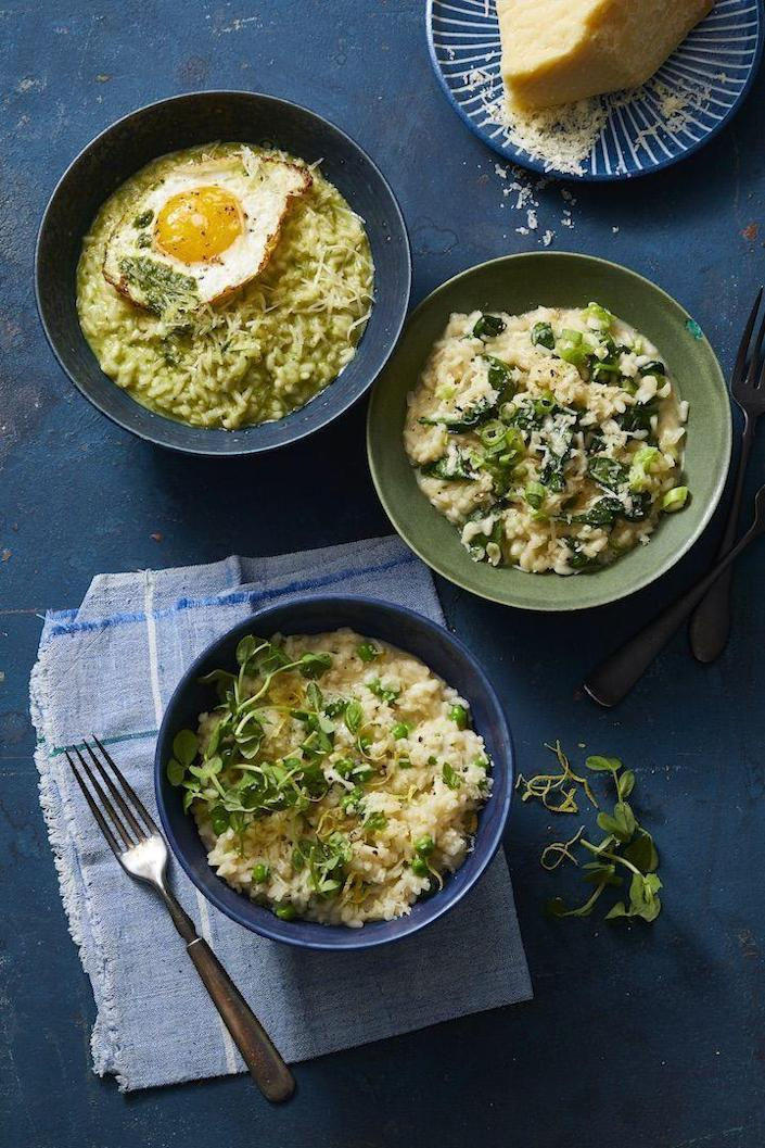 """<p>Stop fretting over a hot stove and trying to avoid messing up a creamy base; simply tap your Instant Pot to do the heavy lifting. This luxe risotto is ready in 30 minutes flat.</p><p><a href=""""https://www.goodhousekeeping.com/food-recipes/easy/a30224354/instant-pot-risotto-recipe/"""" rel=""""nofollow noopener"""" target=""""_blank"""" data-ylk=""""slk:Get the recipe for Instant Pot Risotto With Parmesan »"""" class=""""link rapid-noclick-resp""""><em>Get the recipe for Instant Pot Risotto With Parmesan »</em></a><br></p>"""