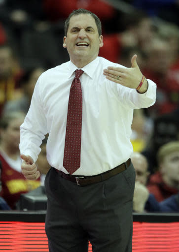 Iowa State head coach Steve Prohm directs his team during the first half of an NCAA college basketball game against Baylor in quarterfinals of the Big 12 conference tournament in Kansas City, Mo., Thursday, March 14, 2019. (AP Photo/Orlin Wagner)