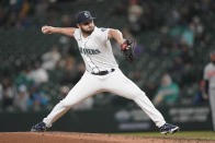 Seattle Mariners starting pitcher Kendall Graveman throws against the Baltimore Orioles during the seventh inning of a baseball game, Tuesday, May 4, 2021, in Seattle. (AP Photo/Ted S. Warren)