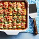 """<p>This healthy riff on lasagna rolls uses strips of zucchini instead of lasagna noodles for a vegetable-packed dinner that's fun for the whole family. This is a great recipe for kids to help make--let them get their hands dirty rolling the zucchini ribbons with the cheesy filling. Use a vegetable peeler or mandoline to quickly slice the zucchini into uniform thin strips--this will ensure easy rolling and even cooking. <a href=""""https://www.eatingwell.com/recipe/272727/zucchini-lasagna-rolls-with-smoked-mozzarella/"""" rel=""""nofollow noopener"""" target=""""_blank"""" data-ylk=""""slk:View Recipe"""" class=""""link rapid-noclick-resp"""">View Recipe</a></p>"""