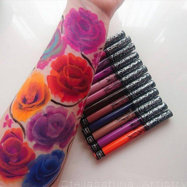 This Makeup Artist Used Kat Von D Lipstick to Create a Floral Swatch Masterpiece