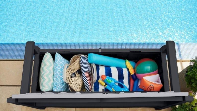 This bench doubles as outdoor storage--a major selling point.