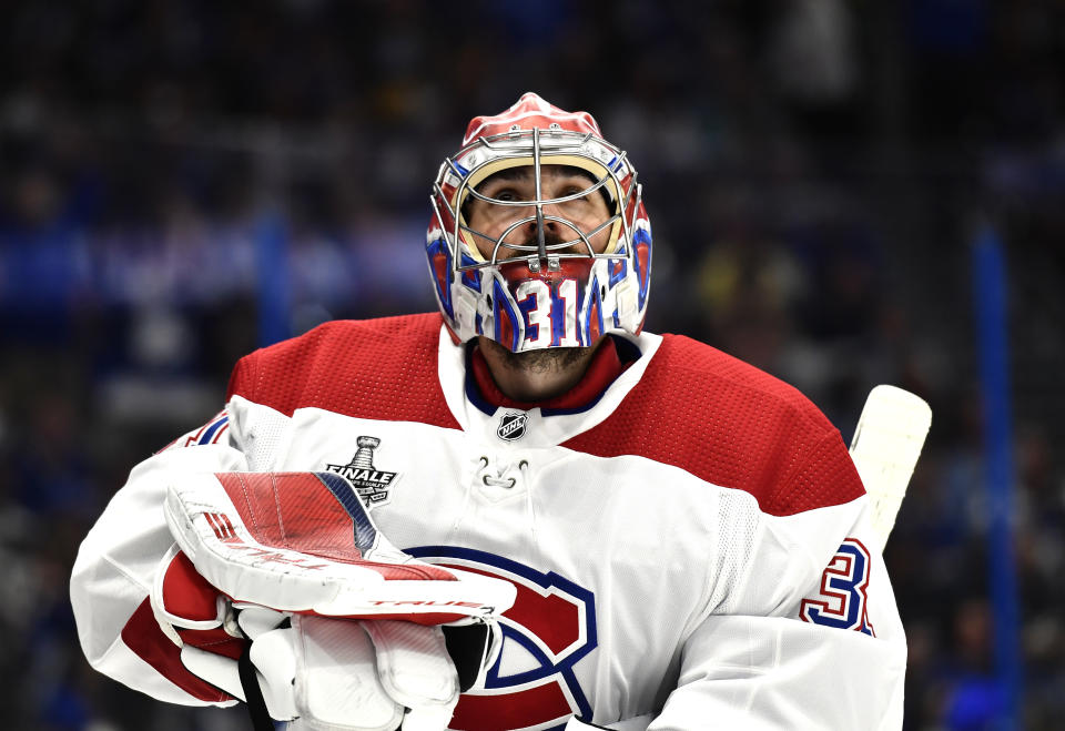 TAMPA, FLORIDA - JULY 07: Goaltender Carey Price #31 of the Montreal Canadiens looks on during the third period of Game Five of the 2021 Stanley Cup Final against the Tampa Bay Lightning at Amalie Arena on July 07, 2021 in Tampa, Florida. (Photo by Florence Labelle/NHLI via Getty Images)