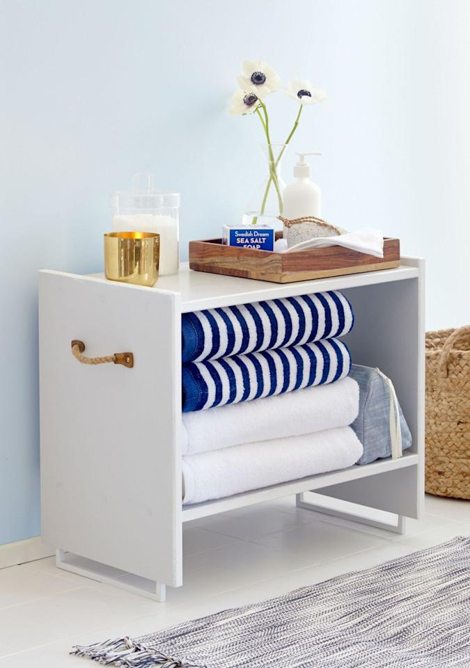 """<p>Designer <a href=""""https://www.housebeautiful.com/design-inspiration/a3587/gif-room-layering/"""" target=""""_blank"""">Emily Henderson</a> upgraded IKEA's Rase nightstand in a snap, repurposing handles as mod table legs. Plenty of space in the <a href=""""https://www.housebeautiful.com/lifestyle/organizing-tips/g2824/linen-closet-organization-tricks/"""" target=""""_blank"""">linen closet</a>? Top it with a mirror for a fresh side table or cute contact paper for a kid's room. </p><p>See more at <a href=""""http://www.redbookmag.com/home/decor/how-to/g2164/easy-diy-project-from-ikea/"""" target=""""_blank"""">Redbook </a>.</p>"""