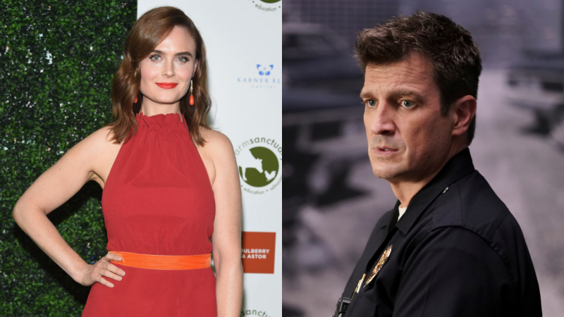 Emily Deschanel; Nathan Fillion in The Rookie