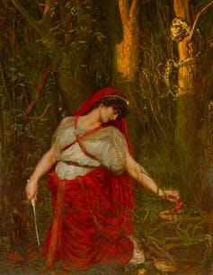 An oil painting of Medea in a red dress in a forest