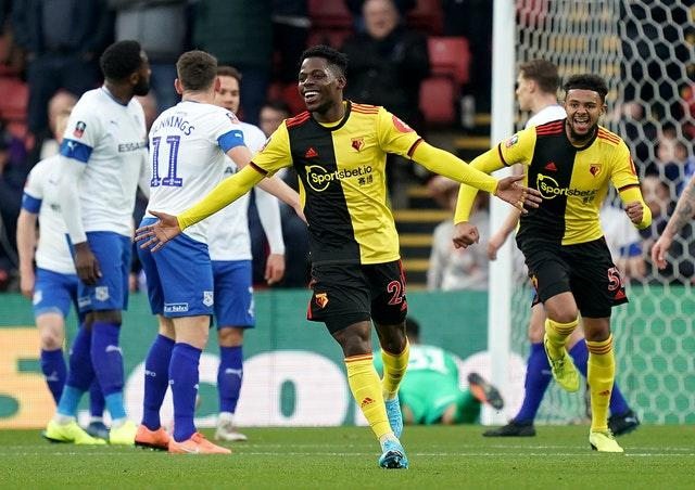 Tom Dele-Bashiru only made three appearances for Watford in the 2019-20 season after joining from Manchester City last summer