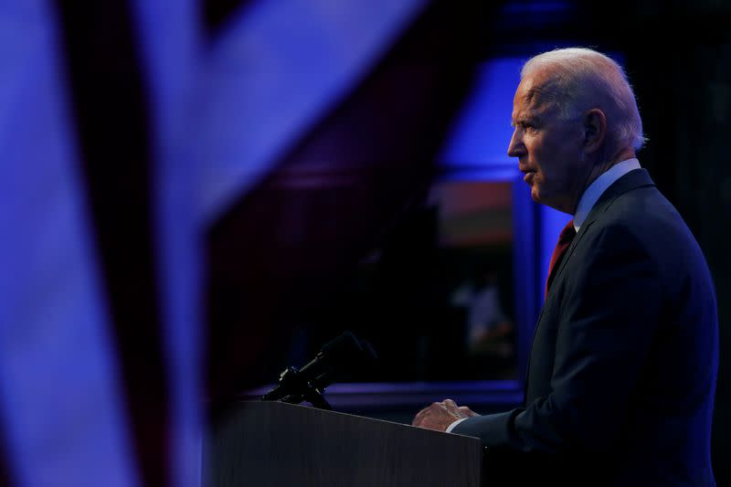 U.S. Democratic presidential candidate and former Vice President Joe Biden delivers speech on Supreme Court in Wilmington