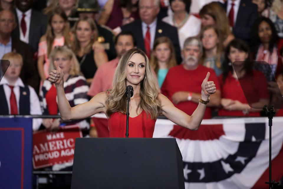 Lara Trump speaks prior to the arrival of then US President Donald Trump during a rally at the Nashville in 2018. Source: Getty