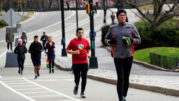 PHOTO: People exercise at Central Park as the coronavirus outbreak continues in New York, March 22, 2020. (Eduardo Munoz/Reuters)