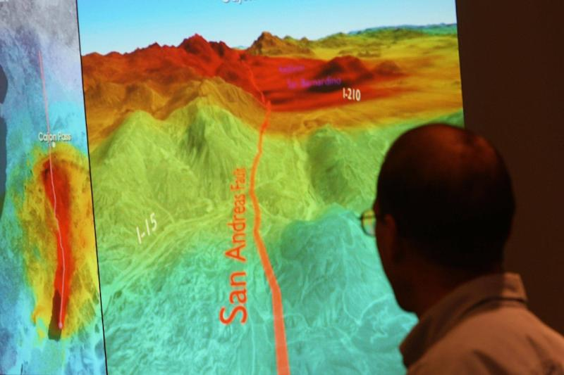 A computer model at the US Geological Survey illustrates how shock waves from a 7.8 magnitude earthquake on the San Andreas fault would affect southern California: Getty Images