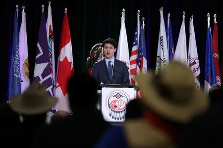 Canada's PM Trudeau speaks during the Assembly of First Nations Special Chiefs Assembly in Ottawa