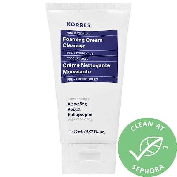 <p>Yes, this <span>Korres Greek Yoghurt Foaming Cream Cleanser</span> ($15-$54) is made with <em>real</em> Greek yogurt that soothes skin with probiotics as it cleanses soap-free.</p>