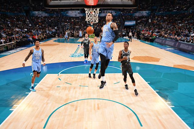 Kyle Kuzma was named the Rising Stars Challenge MVP on Friday night, leading Team USA past Team World to kick off All-Star weekend in Charlotte.(Jesse D. Garrabrant/Getty Images)