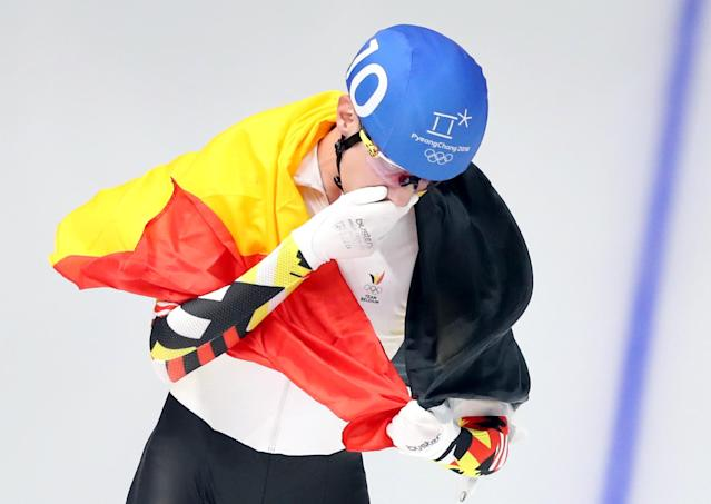 Speed Skating - Pyeongchang 2018 Winter Olympics - Men's Mass Start competition finals - Gangneung Oval - Gangneung, South Korea - February 24, 2018 - Bart Swings of Belgium celebrates after winning a silver medal. REUTERS/Lucy Nicholson