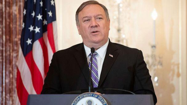 PHOTO: Secretary of State Mike Pompeo speaks during the release of the 2019 Trafficking in Persons Report at the State Department in Washington, on June 20, 2019. (Saul Loeb/AFP/Getty Images)