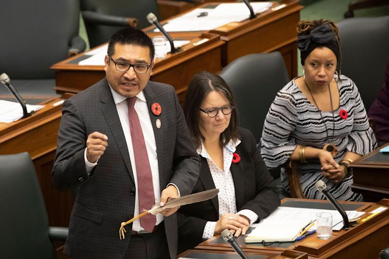 NDP MPP Sol Mamakwa stands in the Ontario legislature in Toronto on Nov. 6, 2019. (Photo: Chris Young/Canadian Press)