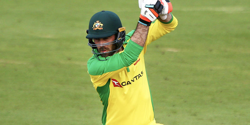 Glenn Maxwell hitting a cover drive during a trial match for Australia.