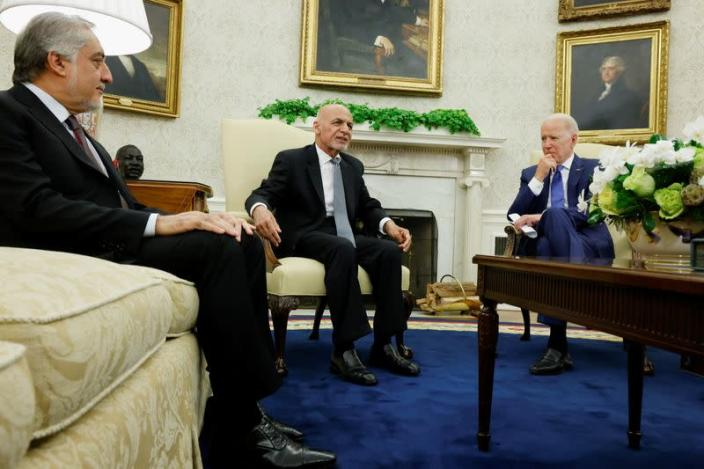 U.S. President Biden meets with Afghan President Ghani and Chairman of Afghanistan's High Council for National Reconciliation Abdullah in Washington