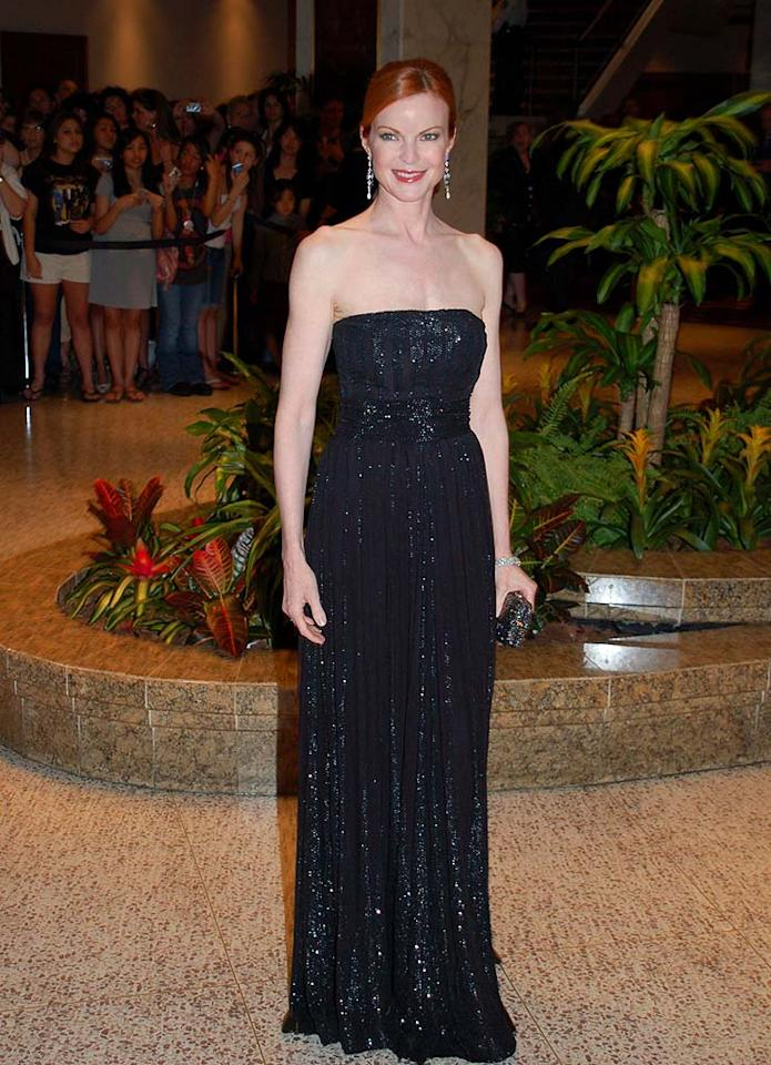 "Marcia Cross sparkled in a sequined black gown and glittering drop earrings. Gene Young/<a href=""http://www.splashnewsonline.com"" target=""new"">Splash News</a> - April 26, 2008"