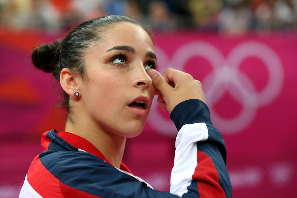 Alexandra Raisman of the United States reacts during the Artistic Gymnastics Women's Floor Exercise final on Day 11 of the London 2012 Olympic Games at North Greenwich Arena on August 7, 2012 in London, England. (Photo by Ronald Martinez/Getty Images)