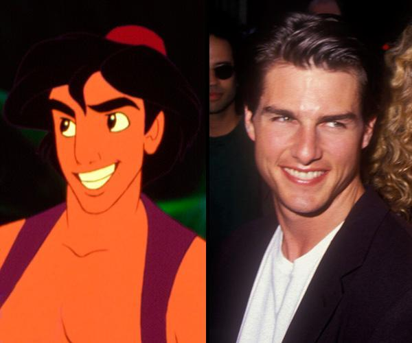 """<div class=""""caption-credit""""> Photo by: Walt Disney/Getty Images</div><b>Aladdin/Tom Cruise</b> <br> """"Aladdin"""" (1992) was originally drawn to resemble Michael J. Fox but producers felt he looked too boyish and added the rakish features of Tom Cruise."""