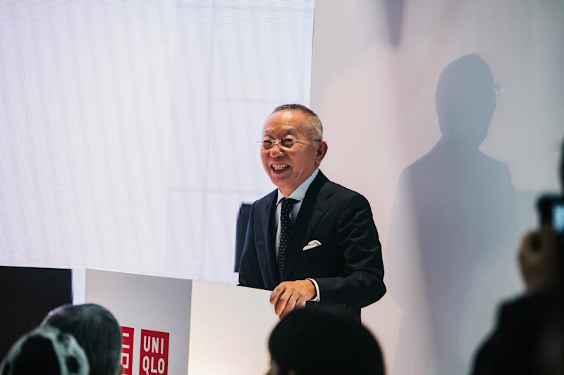 President of Uniqlo, Tadashi Yanai addressing the media in London, on 16 September. (PHOTO: Uniqlo)