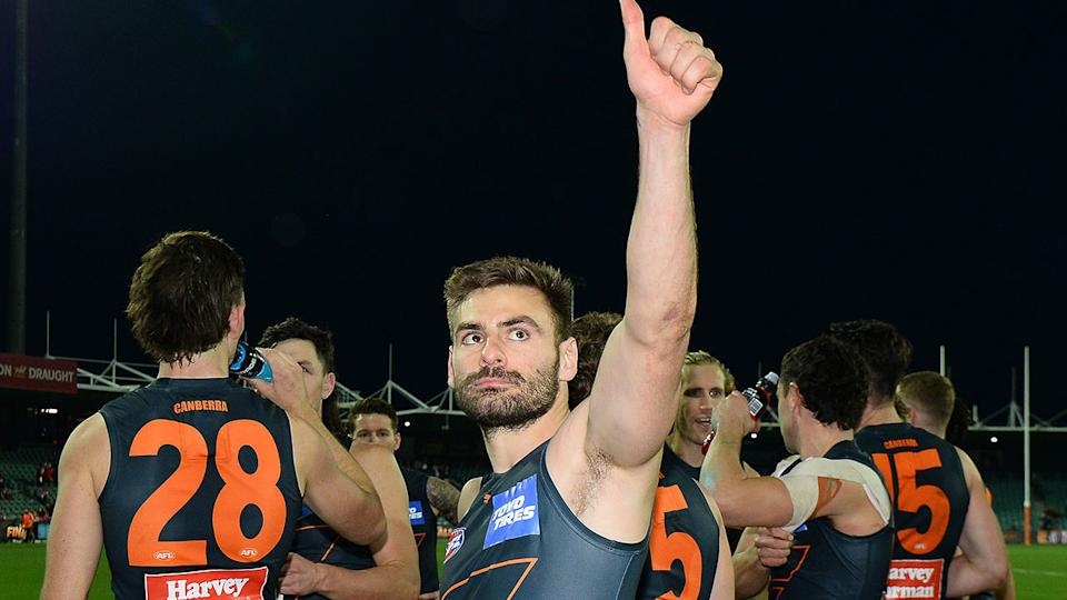 GWS star Stephen Coniglio salutes the crowd after his side's AFL finals exit.