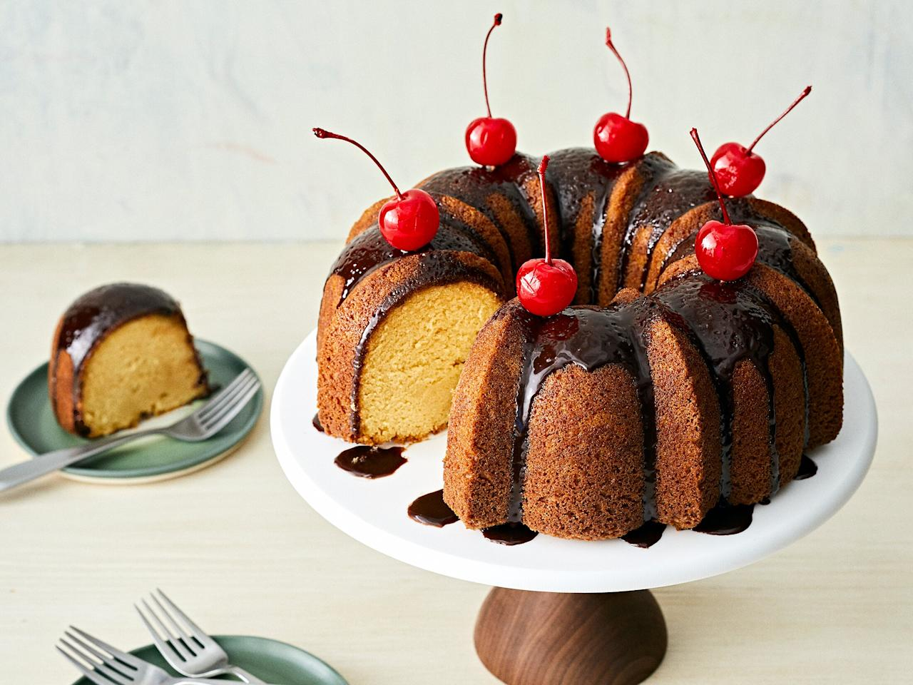 """<p>You know how some cocktails are so good they're basically dessert? This mudslide cake takes that even further, making the classic dessert cocktail into an actual dessert. The inclusion of both Irish and coffee liqueurs give the cake depth of flavor, and the chocolate glaze and cherries give a nod to the traditional mudslide garnishes. Eat it with a dollop of whipped cream or ice cream. No straw required. </p> <p><a href=""""https://www.myrecipes.com/recipe/mudslide-cake"""">Mudslide Cake Recipe</a></p>"""
