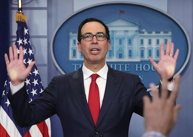 U.S. Treasury Secretary Steven Mnuchin speaks to members of the White House press corps, Aug. 25, 2017. (Photo: Alex Wong/Getty Images)