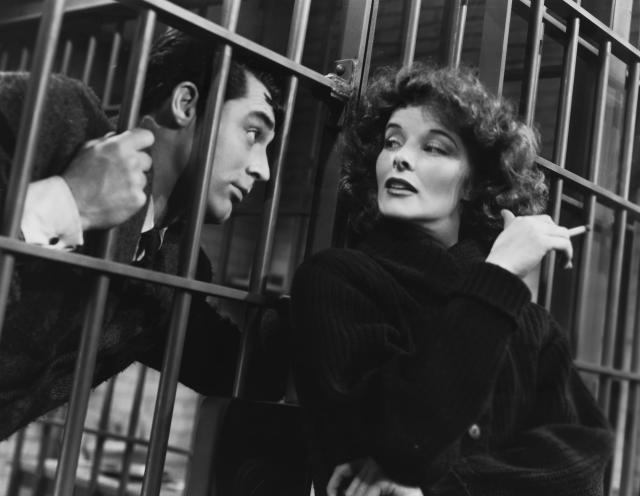 Cary Grant as David Huxley and Katharine Hepburn as Susan Vance in the 1938 comedy Bringing Up Baby. (Photo by �� John Springer Collection/CORBIS/Corbis via Getty Images)
