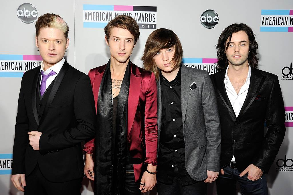 Nash Overstreet, Ryan Follese, Jaime Follese, and Ian Keaggy of Hot Chelle Rae arrive at the 2011 American Music Awards held at the Nokia Theatre L.A. LIVE. (11/20/2011)