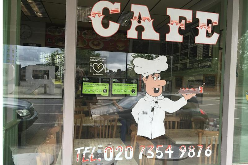 Incorrect: Veli's Café, opposite Arsenal's Emirates stadium put up signs with a five hygiene rating: Islington Council