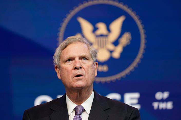 Former Agriculture Secretary Tom Vilsack, slated to reprise that role in the Biden administration, speaks during an event at The Queen theater in Wilmington, Delaware, on Friday, Dec. 11, 2020. (AP Photo/Susan Walsh)