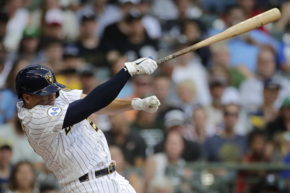 Milwaukee Brewers' Willy Adames loses control of his bat as he swings at a pitch during the third inning of a baseball game against the Chicago White Sox, Saturday, July 24, 2021, in Milwaukee. (AP Photo/Aaron Gash)