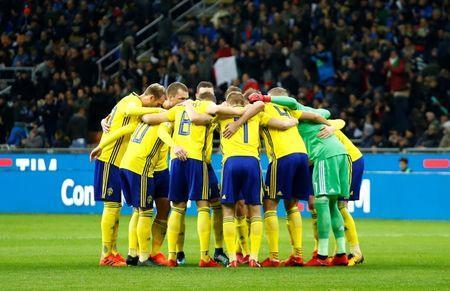 Soccer Football - 2018 World Cup Qualifications - Europe - Italy vs Sweden - San Siro, Milan, Italy - November 13, 2017 Sweden team huddle before the match REUTERS/Alessandro Garofalo/Files