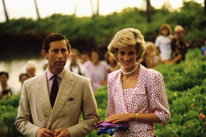 Prince Charles and Princess Diana in Hawaii. (Photo: Douglas Peebles/Corbis via Getty Images)