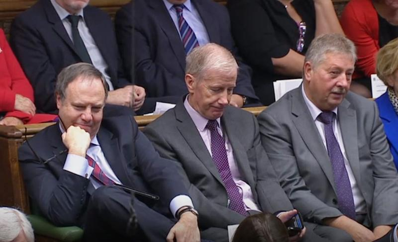 "(Left to right) DUP MPs Nigel Dodds, Gregory Campbell, and Sammy Wilson listen as Prime Minister Boris Johnson delivers a statement in the House of Commons, London, to update the House on his new Brexit deal after the EU Council summit, on what has been dubbed ""Super Saturday"" . (Photo: PA Wire/PA Images)"
