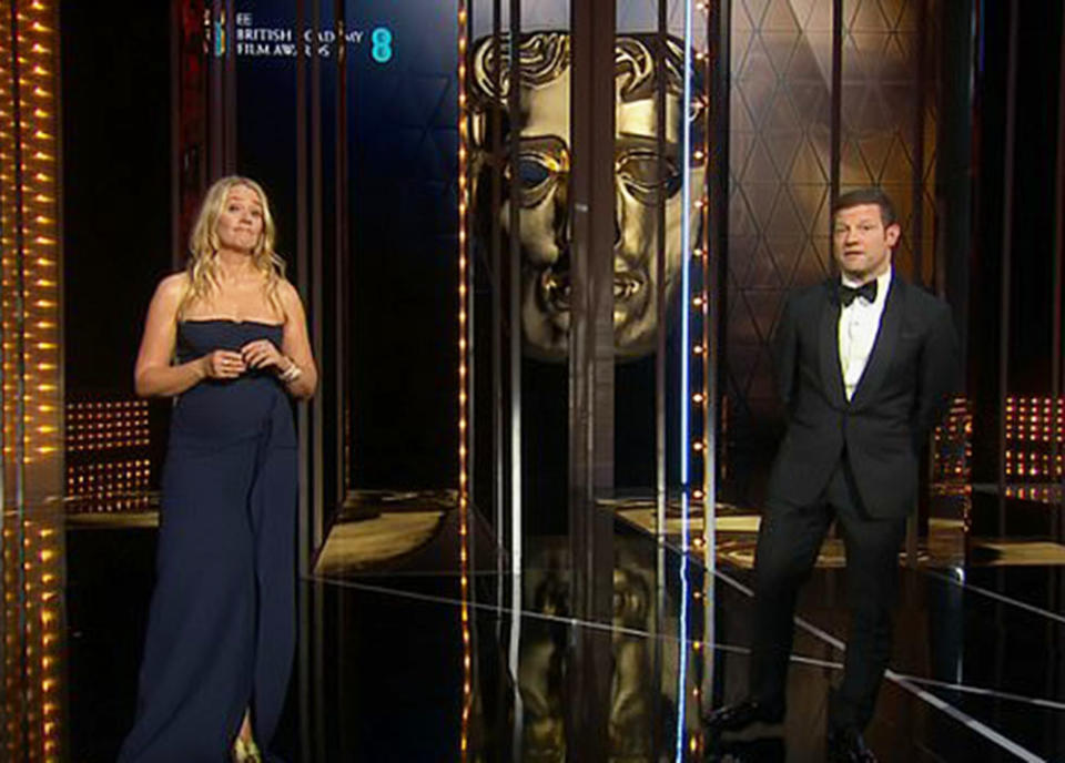 BAFTA hosts Edith Bowman and Dermot O'Leary paid tribute to the late Prince Philip during Sunday's awards. Photo: BBC.