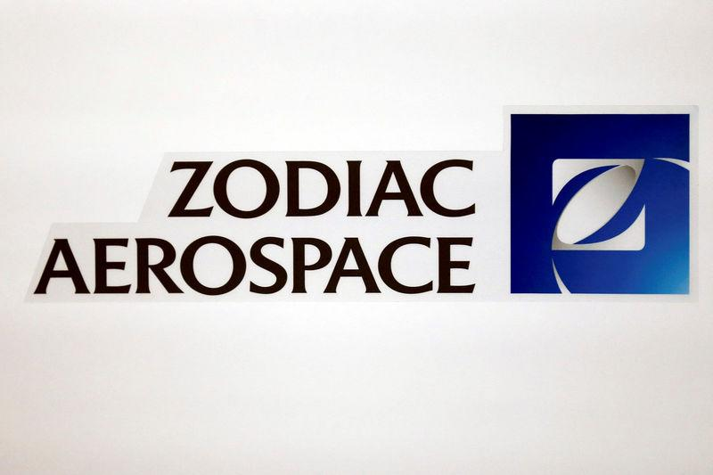 FILE PHOTO: The logo of French aircraft seats and equipment manufacturer Zodiac Aerospace is seen during the company's first half of the 2015/2016 fiscal year presentation in Paris