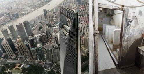 """<span class=""""caption"""">Shanghai from above (left) and on the ground (right) – a public toilet in a market hall.</span> <span class=""""attribution""""><span class=""""source"""">Deljana Iossifova</span>, <span class=""""license"""">Author provided</span></span>"""