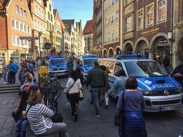 <p>Police vans stand in downtown Muenster, Germany, Saturday, April 7, 2018. (Photo: dpa via AP) </p>