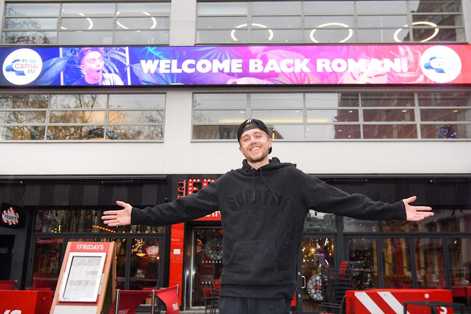 Roman Kemp pictured on his first day back at Capital Breakfast, after coming third in 'I'm A Celebrity... Get Me Out Of Here!'