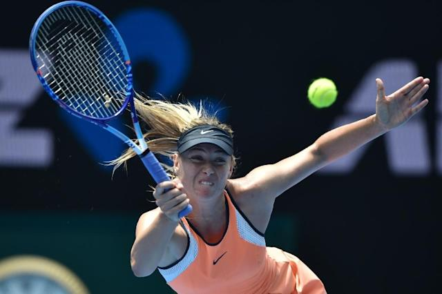 Russia's Maria Sharapova, a five-times Grand Slam champion, had an initial two-year suspension by the International Tennis Federation reduced to 15 months after she tested positive at the 2016 Australian Open for meldonium (AFP Photo/SAEED KHAN, SAEED KHAN)