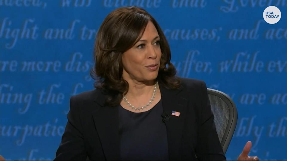 Sen. Kamala Harris discusses her law enforcement and criminal justice record to Vice President Pence during the VP debate.