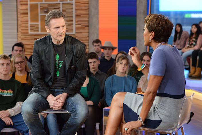 "Neeson sits down with Robin Roberts on ""Good Morning America"" to further explain himself. (Photo: Lorenzo Bevilaqua via Getty Images)"