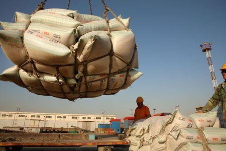 Workers transport imported soybean products at a port in Nantong