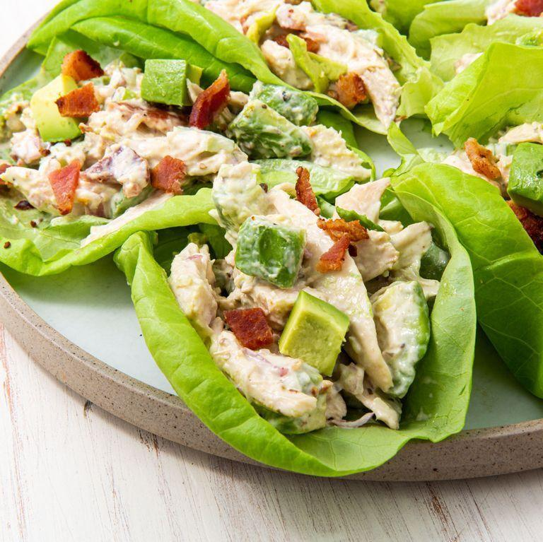 """<p>We firmly believe that all chicken salads would benefit from crispy bacon and this easy Keto version is proof. The dressing is tangy and with added avocado it's a perfect chicken salad. Serve it on lettuce or your favourite <a href=""""https://www.delish.com/uk/cooking/recipes/a30451766/cloud-oopsie-bread-recipe/"""" rel=""""nofollow noopener"""" target=""""_blank"""" data-ylk=""""slk:Keto Cloud Bread"""" class=""""link rapid-noclick-resp"""">Keto Cloud Bread</a>! </p><p>Get the <a href=""""https://www.delish.com/uk/cooking/recipes/a34068910/keto-chicken-salad-recipe/"""" rel=""""nofollow noopener"""" target=""""_blank"""" data-ylk=""""slk:Keto Chicken Salad"""" class=""""link rapid-noclick-resp"""">Keto Chicken Salad</a> recipe.</p>"""