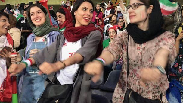 PHOTO: Zahra Ahooei, 30, dances to the music during half time of the World Cup qualifying match between Iran and Cambodia at Azadi Stadium in Tehran, Iran, Oct. 10, 2019. (Somaye Malekian/ABC News)
