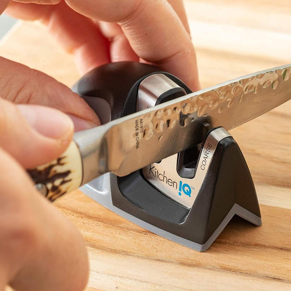 """Becauseover time your knives may lose their sharpness, and that shouldn't mean having to get rid of and replace them!<br /><br /><strong>Promising review:</strong>""""Wow, this little gadget is pretty amazing! I have some old (expensive) non-serrated knives that are supposed to never need sharpening but unfortunately, lost their sharp edge long ago. I saw this gadget and decided to try it. I set the bottom of this gadget on the edge of the counter and ran one of the knives through the side labeled 'Coarse' about 10 times, then ran it through the side labeled 'Fine' another 8-10 times. Bingo! The knife was transformed back to its former high-dollar cutlery glory. I could hardly believe how effectively it had sharpened the knife, which I had been ready to throw away a week before. I've been happily sharpening all our knives and trying to add up in my head how much money I've saved by NOT having to buy another set of expensive knives. I don't know where else you can spend $6 and get this return for the money. Great score!"""" — <a href=""""https://www.amazon.com/gp/customer-reviews/R4J6PXEWDSHRM?&linkCode=ll2&tag=huffpost-bfsyndication-20&linkId=dd7c275eec52c733ef879a8669db375e&language=en_US&ref_=as_li_ss_tl"""" target=""""_blank"""" rel=""""noopener noreferrer"""">Schelly L. Wagoner</a><br /><br /><strong><a href=""""https://www.amazon.com/KitchenIQ-50009-2-Stage-Knife-Sharpener/dp/B001CQTLJM?&linkCode=ll1&tag=huffpost-bfsyndication-20&linkId=7f6801866b8cf00c4bcfa5ad7e172f9e&language=en_US&ref_=as_li_ss_tl"""" target=""""_blank"""" rel=""""noopener noreferrer"""">Get it from Amazon for $5.99.</a></strong>"""